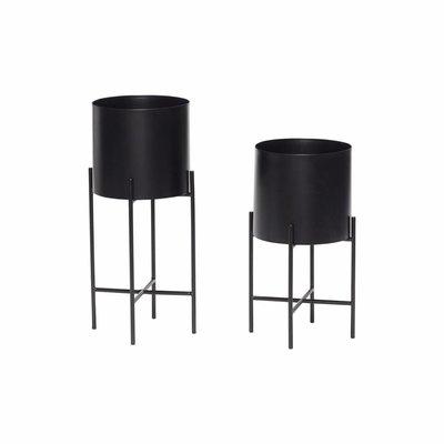 Hübsch 940601 Set bloempot - Rond - Op standaard - Metaal - Zwart