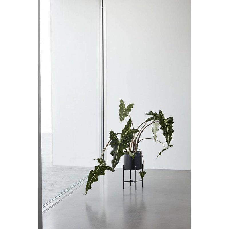 Hübsch Set bloempot rond op standaard metaal zwart