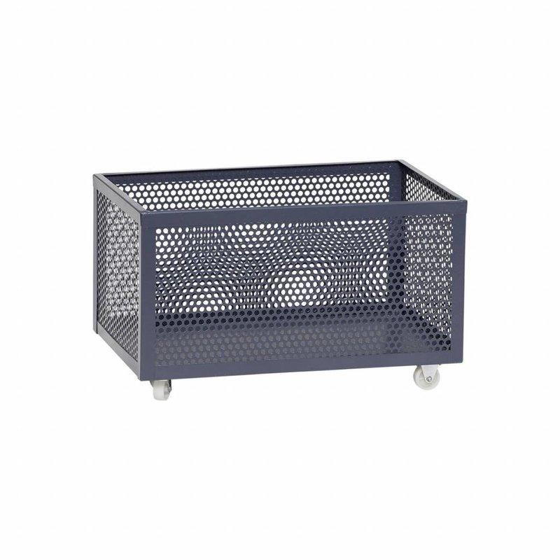 Hübsch Opbergbox op wieltjes metaal grijs 51 x 30 x 30 cm