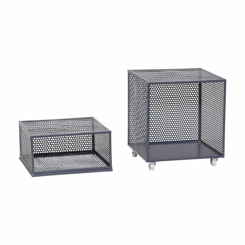Hübsch 300605 Opbergbox op wieltjes - L36xB36xH43cm - Metaal - Grijs