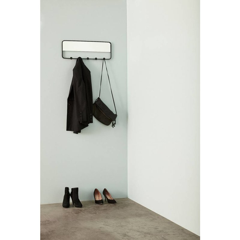 Hübsch 940620 Wandkapstok met spiegel 5 haken - B61xH22cm - Zwart - Metaal