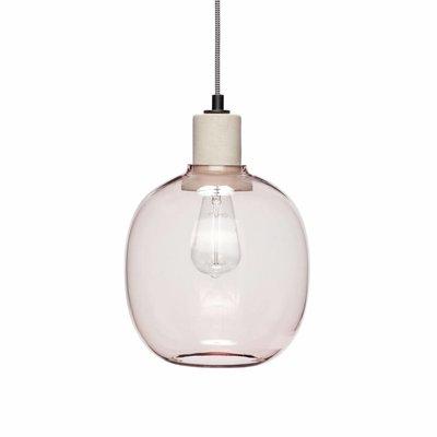 Hübsch 950413 Hanglamp glas roze beton - 23 x 30 cm