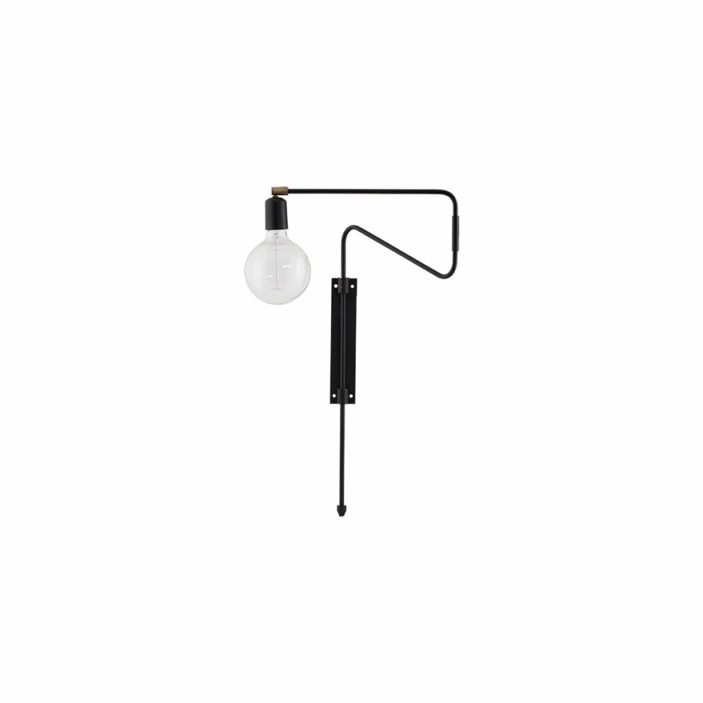Wandlamp Swing Zwart 35cm E27 Max 25 Watt 3.5 M Kabel House Doctor