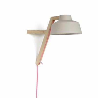 Studio Harm en Elke Wandlamp - L43xH38cm - Eikenhout Porselein - Grijs