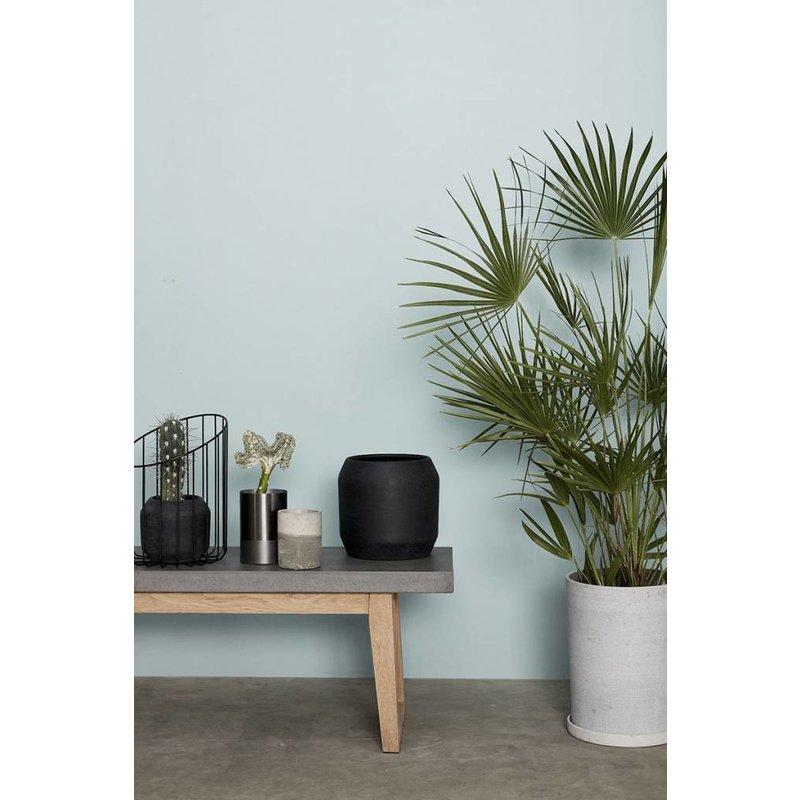 Hübsch Set bloempotten met schotel grijs