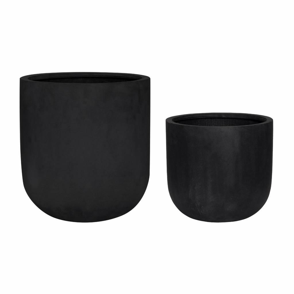 H�bsch Set bloempotten Fiberstone zwart � 33 cm en � 40 cm