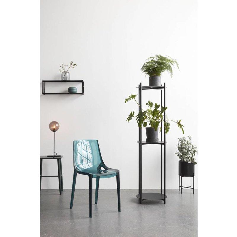 Hübsch plantenrek met 3 planken metaal zwart 44 x 152 cm