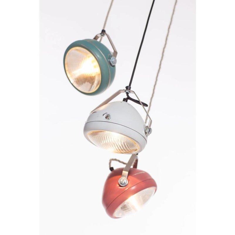 Het Lichtlab No.5 hanglamp koplamp marsala geschuurd