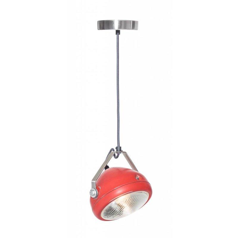 Het Lichtlab No.5 hanglamp koplamp rood geschuurd
