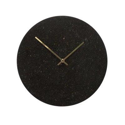 Hübsch 130501 Wandklok - ø35cm - Marmer - Zwart Goud