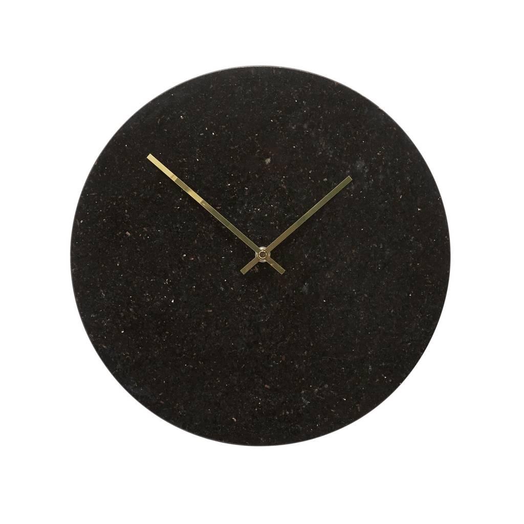 H�bsch Wandklok zwart marmer met goud 35 cm