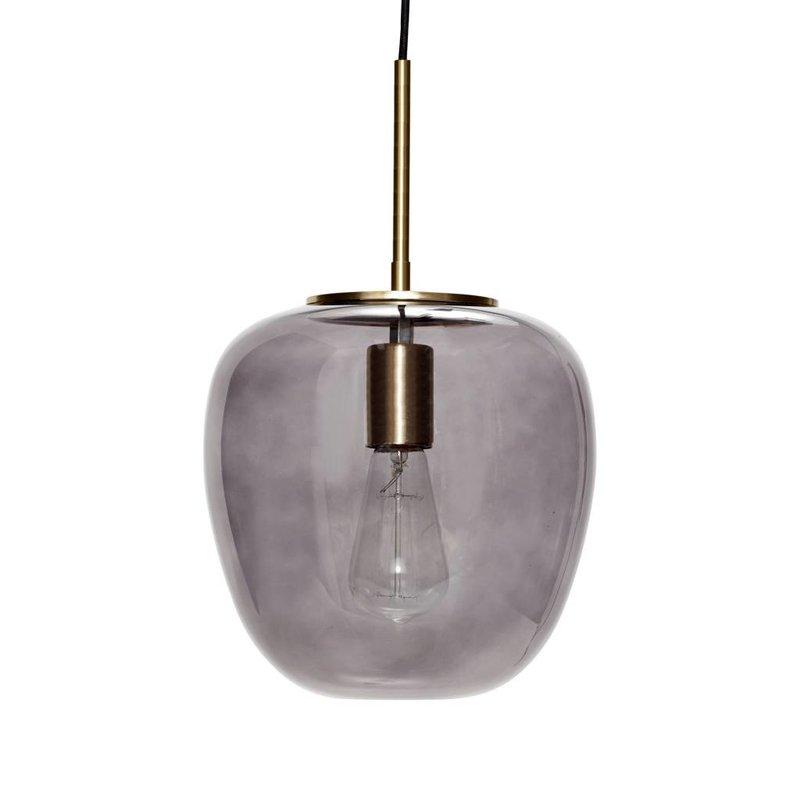 Hübsch Hanglamp glas goud met gerookt glas 30 x 28 cm