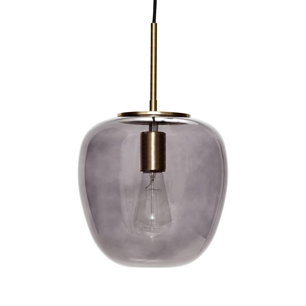 H�bsch Hanglamp glas goud met gerookt glas 30 x 28 cm