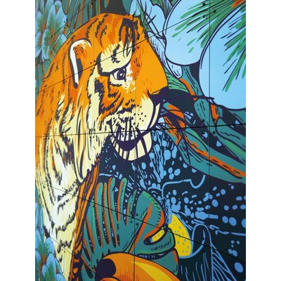 IXXI wanddecoratie Tiger Jungle & Toucan Family - 80 x 100 cm