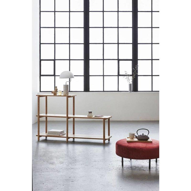 Hübsch 100704 Hocker - Rond - rood zwart - fluweel metaal - 70 x 33 cm