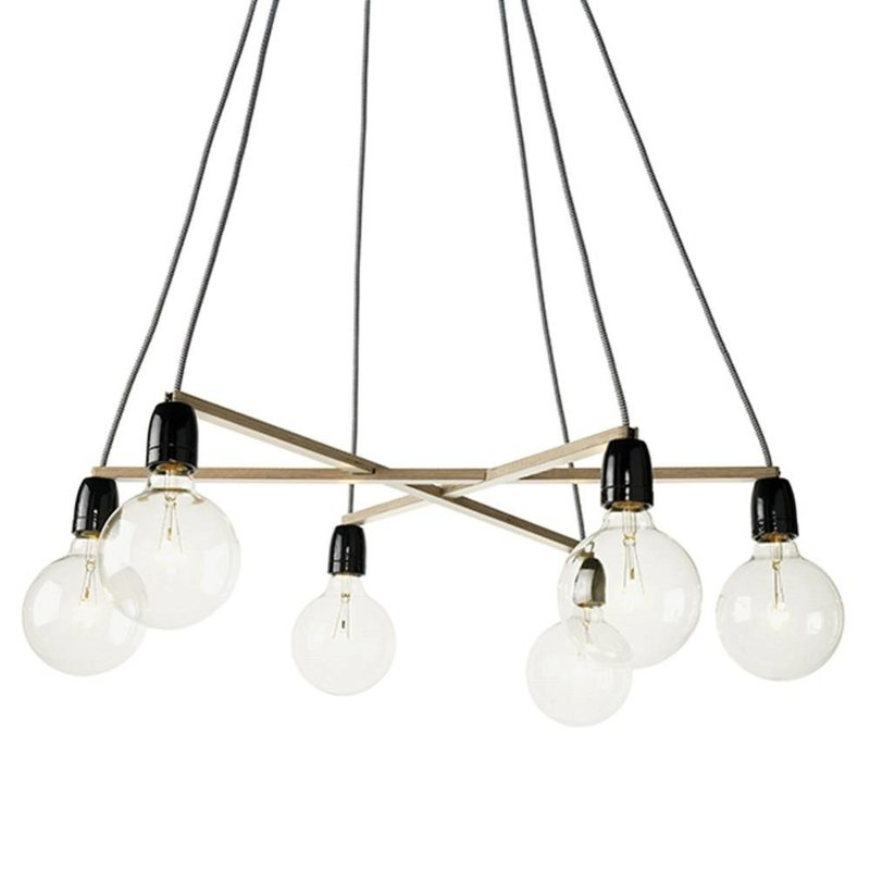 Het Lichtlab Hanglamp - No.37 a-symmetrie - ø70xH150cm - Berkenhout - Bruin