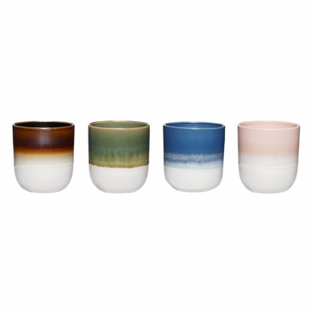 H�bsch keramieken kopjes - set van 4 - roze, bruin, groen en blauw - 8 x 8 cm
