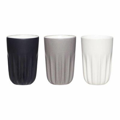 Hübsch Mokken - set van 3 - zwart, grijs, wit - ø 8 cm x H 12 cm