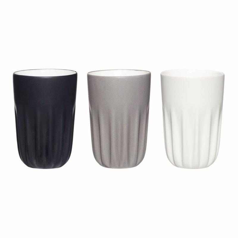 Hübsch 710602 Mokken - set van 3 - zwart, grijs, wit - ø 8 cm x H 12 cm