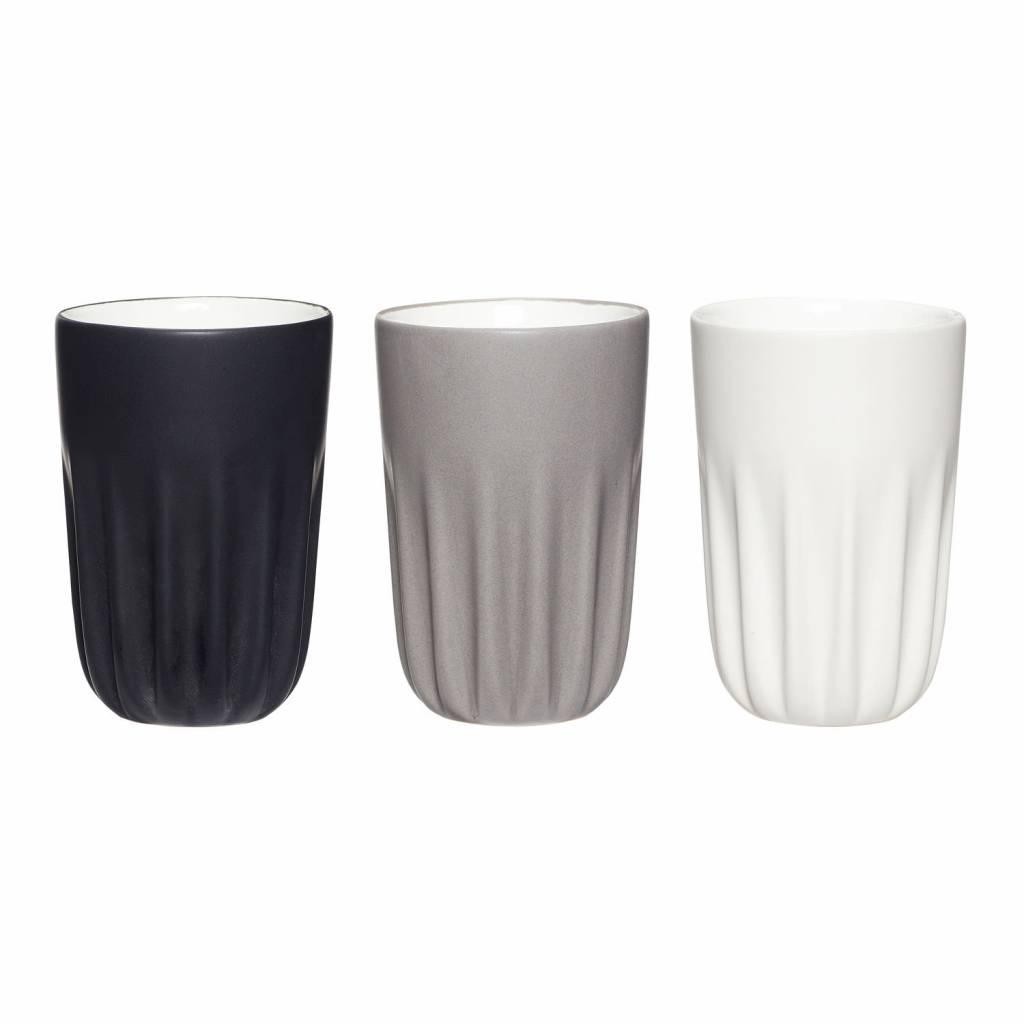 H�bsch Mokken set van 3 zwart, grijs, wit � 8 cm x H 12 cm