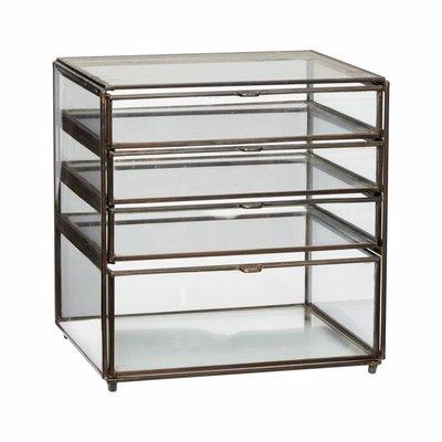 Hübsch 400301 Ladekast - L26xD20xH27cm - Glas Metaal - Brons