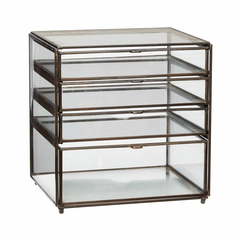Hübsch 400301 glazen ladekastje - L26xD20xH27 cm - brons