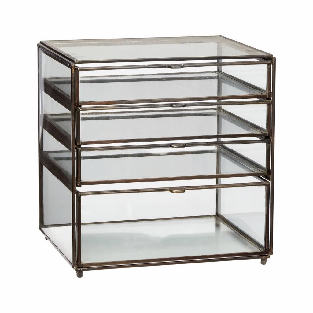 H�bsch 400301 glazen ladekastje - L26xD20xH27 cm - brons