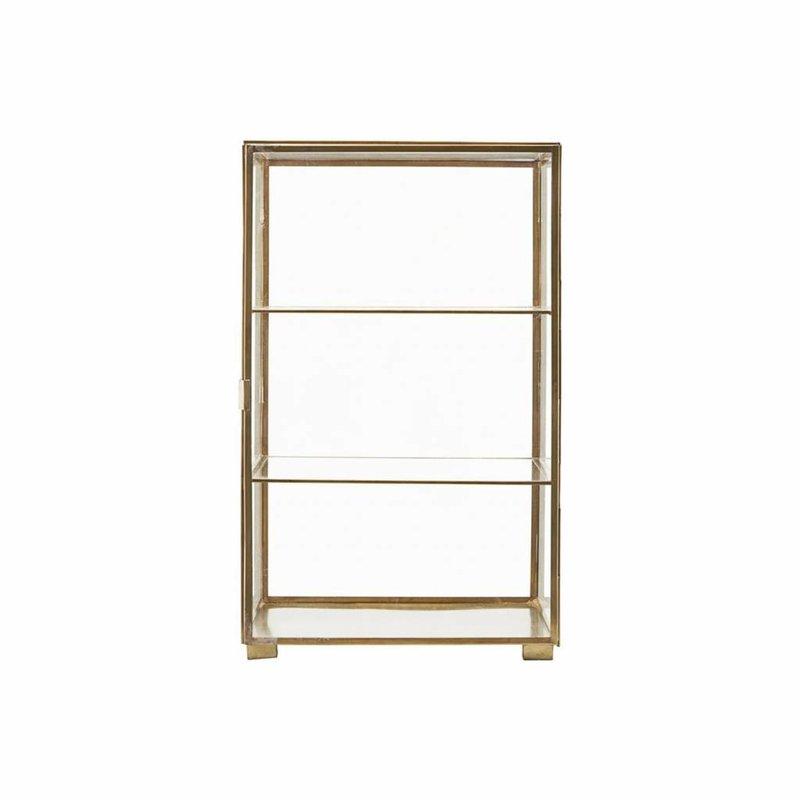 House Doctor CB0750 kastje met 2 planken - Glass - 35 x 35 x H56,6 cm - Messing