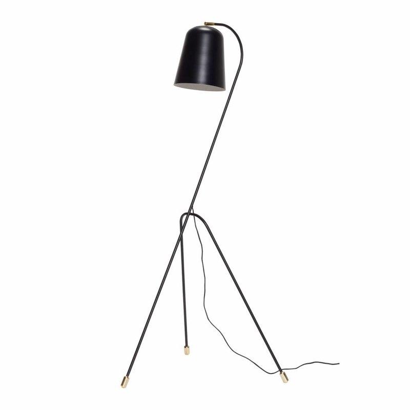 Hübsch 990607 vloerlamp – 55 x 55 cm x H156 cm – zwart en messing