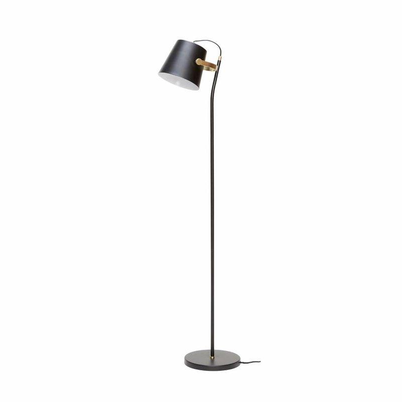 Hübsch 990304 vloerlamp – 25 x 36 x H140 cm – zwart en messing