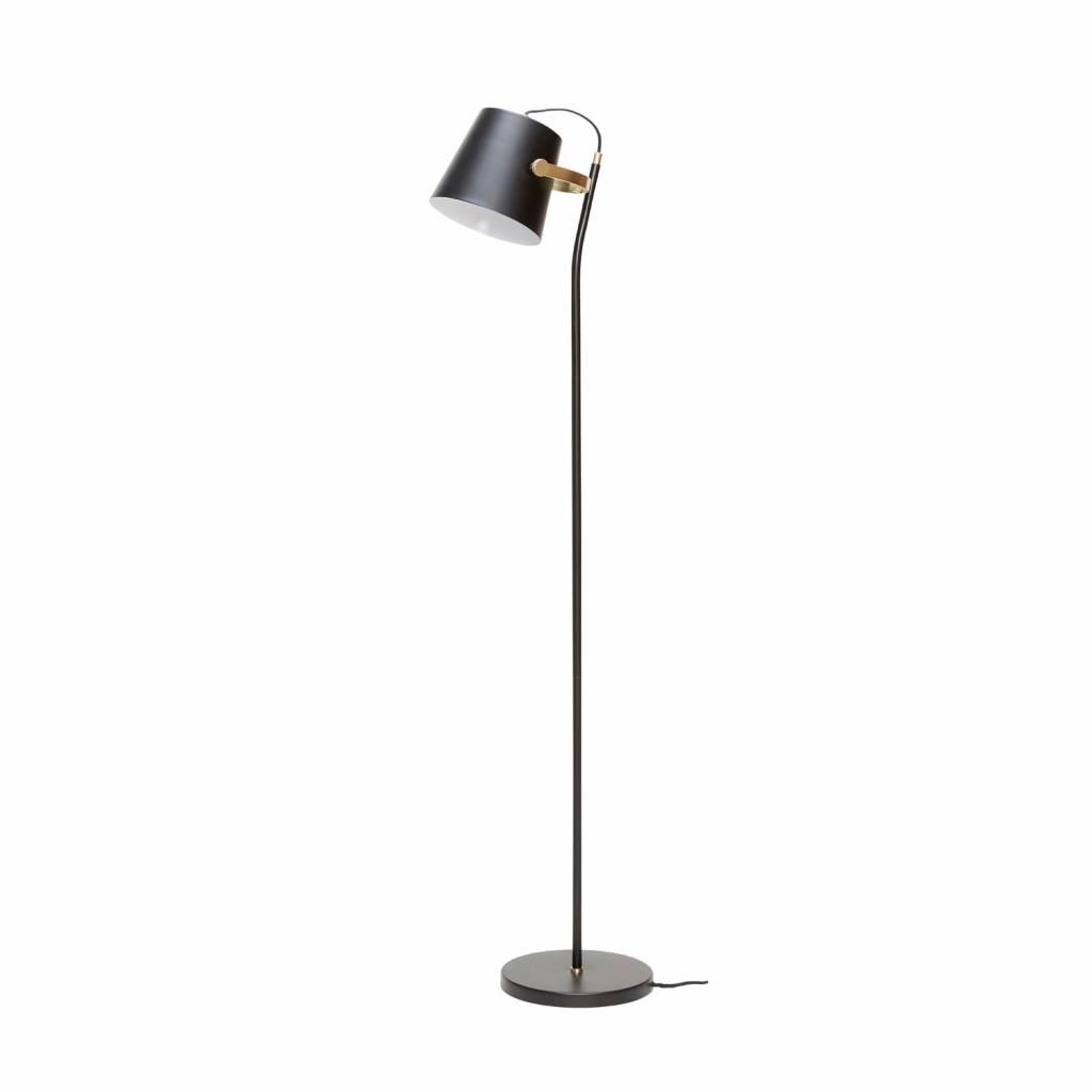 H�bsch 990304 vloerlamp - 25 x 36 x H140 cm - zwart en messing