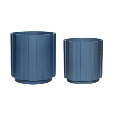 Hübsch 990837 Bloempot - Set van 2 - ø25xH26cm en ø30xH31cm - Gips - Petrol blauw