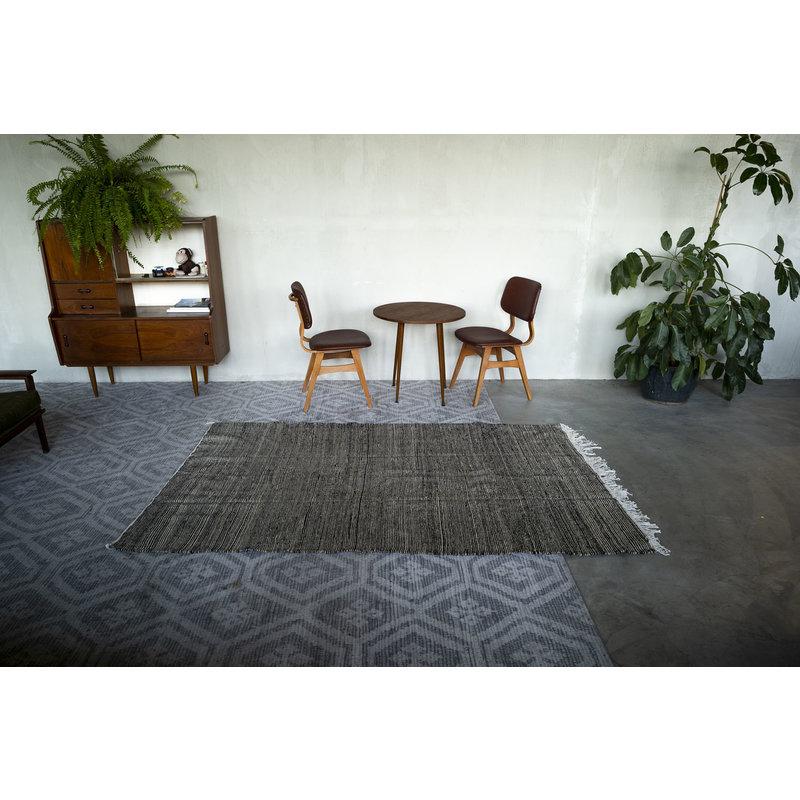 House for Interior nr. 1 Vloerkleed - Kelim - 231 x 147 cm - Zwart - Crème