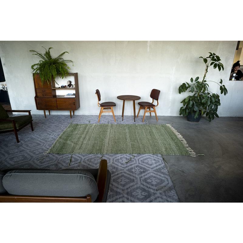House for Interior nr. 2 Vloerkleed - Kelim - 257 x 151 cm - Groen - Wit