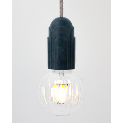 Hommage Department HD.101BL.SGY Lamp met schakelaar - Art Deco - Ø5,5 x H10 cm - Blauw