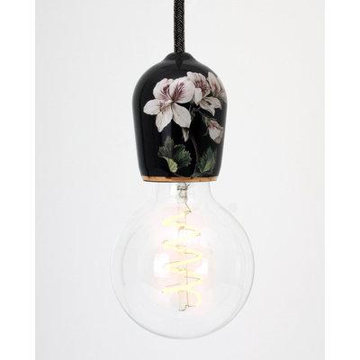 Hommage Department HD.104BK.SBK Lamp met schakelaar - Flowers - Ø6 x H8,5 cm - Zwart