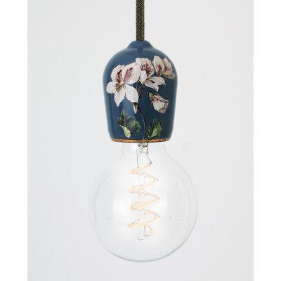 Hommage Department HD.104BL.SGN Lamp met schakelaar - Flowers - Ø6 x H8,5 cm - Blauw