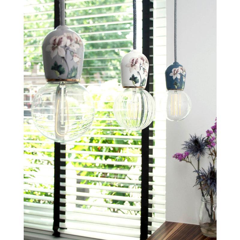 Hommage Department HD.104GY.SGY Lamp met schakelaar - Flowers - Ø6 x H8,5 cm - Grijs