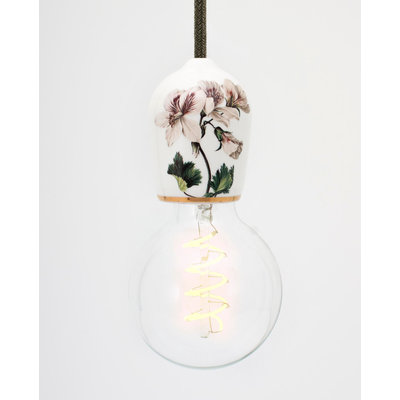 Hommage Department HD.104WH.SGN Lamp met schakelaar - Flowers - Ø6 x H8,5 cm - Wit