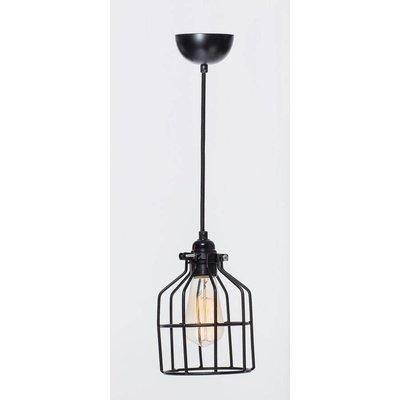Het Lichtlab Hanglamp met Kooi - No.15 - ø13xH18cm - Metaal - Zwart