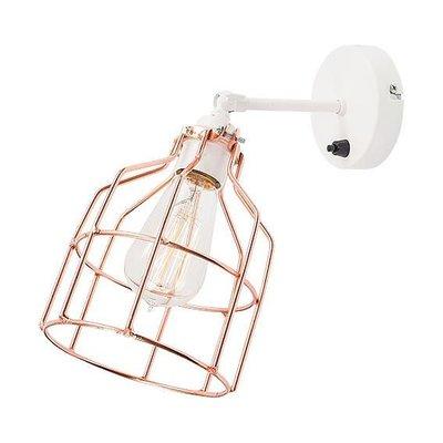 Het Lichtlab No.15 wandlamp wit met koperen kooi