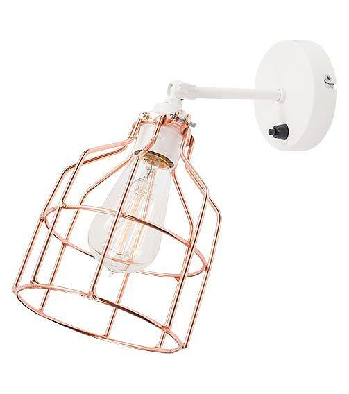 Het Lichtlab Wandlamp met Koperen Kooi - No.15 - �13xH13cm - Metaal - Wit