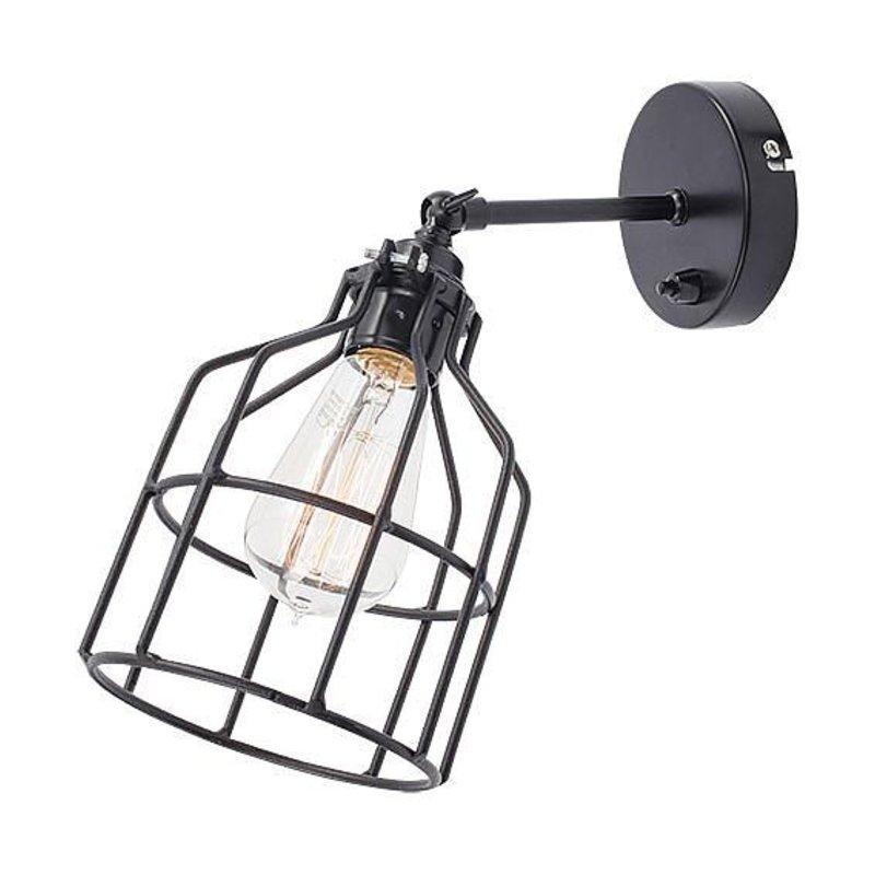 Het Lichtlab Wandlamp met Zwarte Kooi - No.15 - ø13xH13cm - Metaal - Zwart