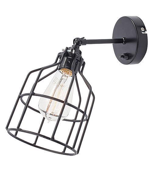 Het Lichtlab Wandlamp met Zwarte Kooi - No.15 - �13xH13cm - Metaal - Zwart