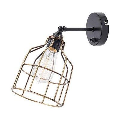 Het Lichtlab Wandlamp met Bronzen Kooi - No.15 - ø13xH13cm - Metaal - Zwart