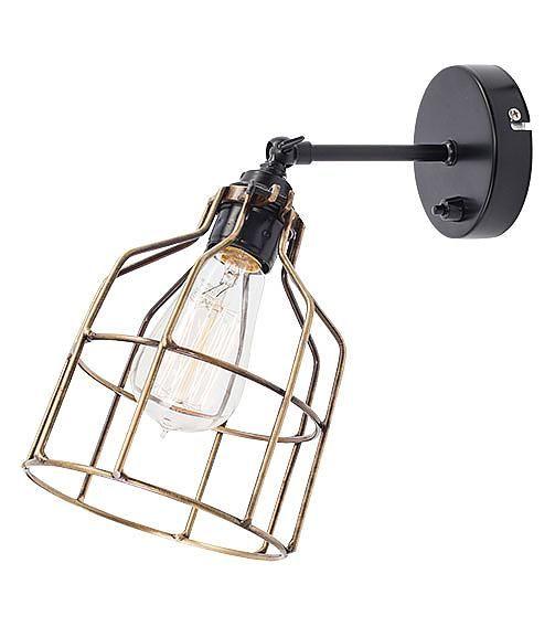 Het Lichtlab Wandlamp met Bronzen Kooi - No.15 - �13xH13cm - Metaal - Zwart