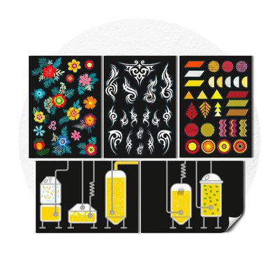 5 planches de stickers