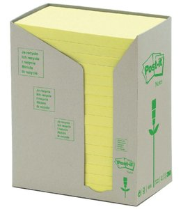 3M Post-it MEMOBLOK 655 76X127MM RECYCLE GEEL 16STKS