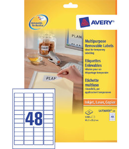 Avery ETIKET L4736REV 45.7X21.2