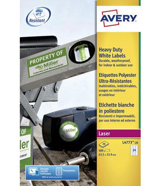 Avery ETIKET L4773-20 63.5X33.9 480STKS